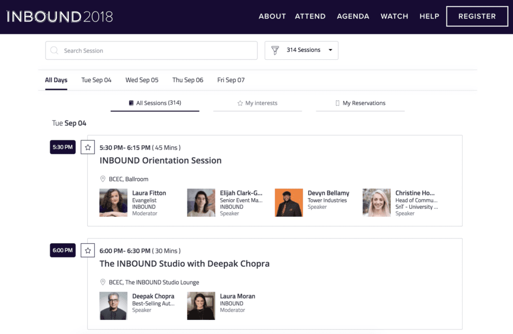 INBOUND's event agenda created with event management software