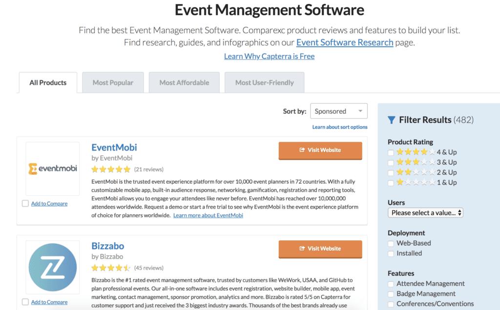 Event management software reviews on Capterra